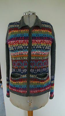 Vintage 1990s Laura Ashley 100% Pure New Wool Zipped Cardigan Size M