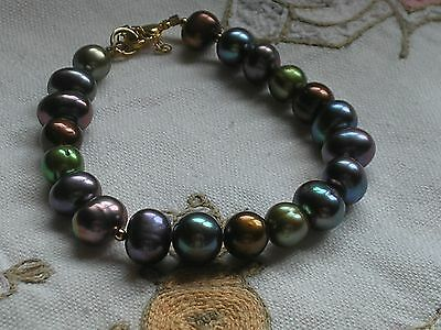 Honora Multi Coloured  Freshwater Pearl  Bracelet  With Goldtone Clasp