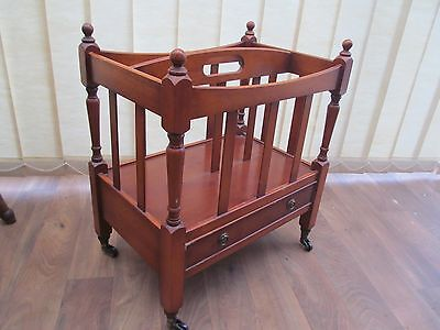 Canterbury Magazine Rack With Drawer  Bradley Yew wood  Repro Antique Furniture