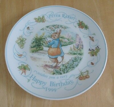 Vintage Wedgwood Beatrix Potter Peter Rabbit Happy Birthday 1999 Plate