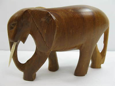 Beautiful Wood Carved Elephant Figure Sculpture Animal Wildlife Collectible