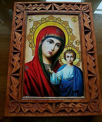 ORTHODOX ICON, HAND MADE CARVING WOOD  BOTH SIDE Mary, mother of Jesus