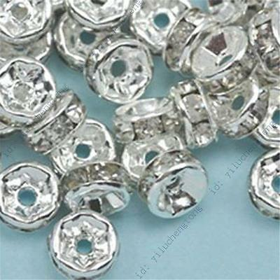 Wholesale 8mm 100pc Silver Plated Rondelle Clear Crystal Rhinestone Spacer Beads