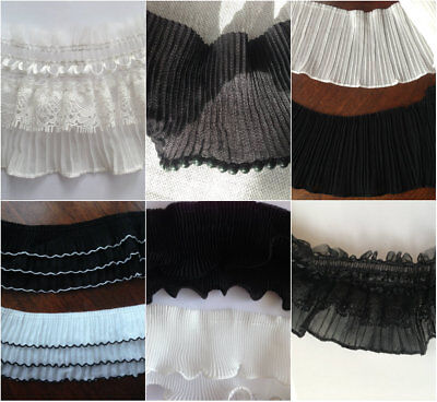 Off white/ black 5.5 cm/9/12 cm wide pleated polyester lace trim 2.5/3.5 yards