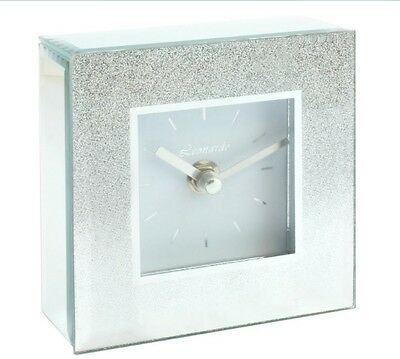 Silver Sparkly Mirror and Glitter Bling Contemporary Mantle Clock
