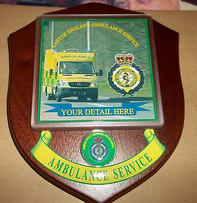 East of England Ambulance Service wall plaque personalised free of charge.