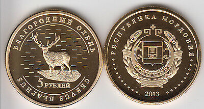 MORDOVIA 5 Rubles 2013, Deer, unusual coinage