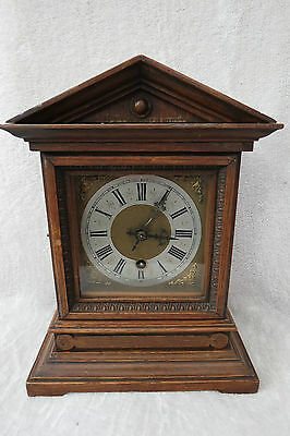 Small Antique German Oak Cased Bracket Clock For Tlc