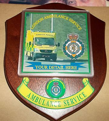 London Ambulance Service wall plaque personalised free of charge.
