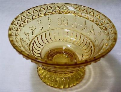 "LG Wright Glass WILDFLOWER 5 1/2"" Amber Pressed Glass Sauce Dish Daisies EXC!"