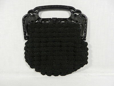 Vintage Black Crochet Purse with Bird Handle, Very Detailed