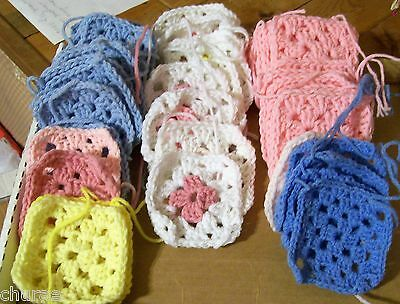 44 Crocheted Granny Squares For Crafting Or Making A Baby Afghan
