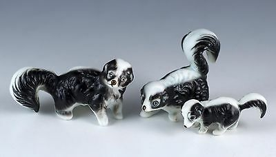 Vintage Miniature 3 Piece Set Bone China Skunk Family Figurines Matte Japan