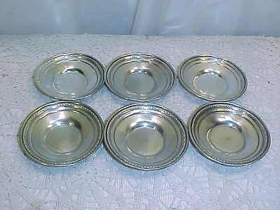 Set Oif 6 Antique Sterling Silver Butter Pats