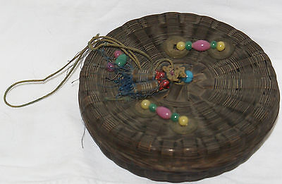 Vintage Chinese Wicker Woven Sewing Basket -Coins, & Glass Beads