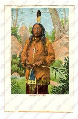 1900 ca USA Red Indian Chief with crucifix - Long Feather *Vintage postcard FP