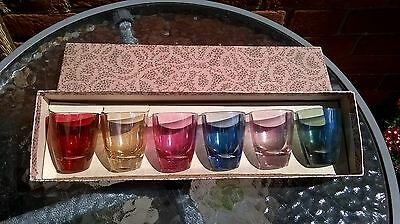 Vintage Coloured   Drinking Set of 6 Small Glasses in original box
