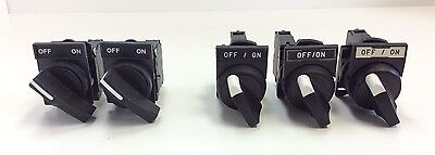 Lot Of 5 - Machine Selector Switches With Normally Open Contact Blocks 15-240VAC