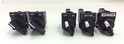 Lot of 5 Machine Selector Switches Normally Open Contact Blocks On Off Legends