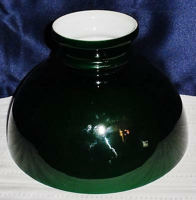 """Antique / Vintage Cased Emerald Green 10"""" Glass Student Lamp Shade"""