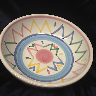 "Caleca Italy Sole 9 1/4"" Round Vegetable Serving Bowl Zig Zag Pastel Lines"