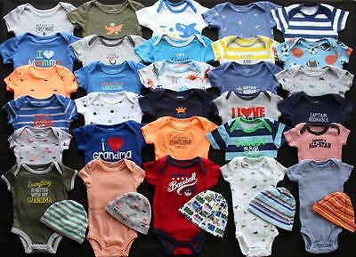 Baby Boy Newborn 0/3 3/6 Months One Piece T-Shirt Hats Clothes Lot Free Shipping