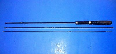 """Antique 3pc 80"""" Metal Fishing Rod w/Ringed Wooden Handle"""