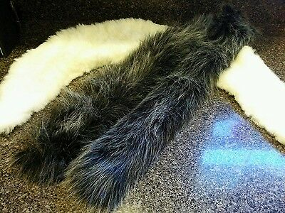2 Vintage Faux Fur Collars or Scarfs White & Gray