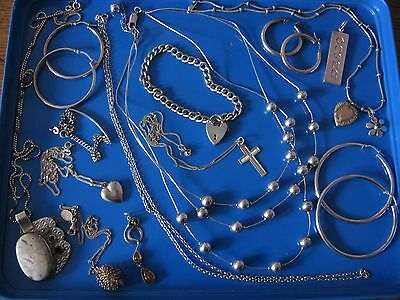 Job Lot Vintage Solid Silver Assorted Jewellery Mixed Items 134gms Not Scrap