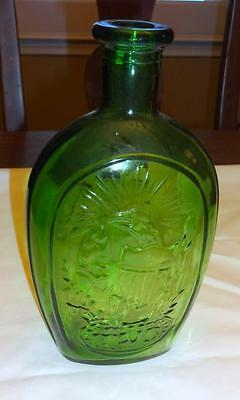 """Wheaton 8 3/4"""" Green Glass Flask Embossed Eagle TWD & Tall Ship Frankliln"""