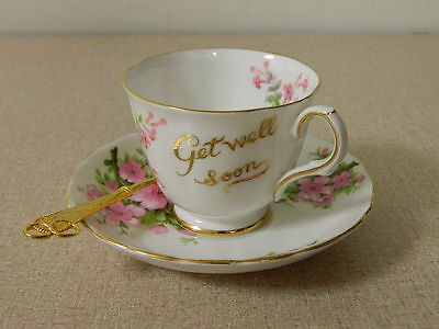 Tuscan Fine English Bone China Get Well Soon Tea Cup & Saucer & Gold Spoon