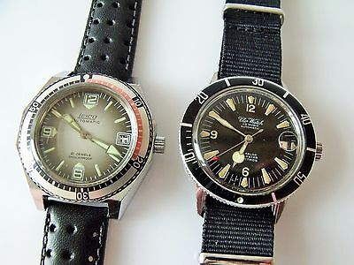 2 Vintage Stainless Steel Automatic Divers Watches Leico - & Aquastar
