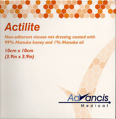 Actilite Dressings 10cm x 10cm Coated With Manuka Honey Oil NEW And SEALED x10