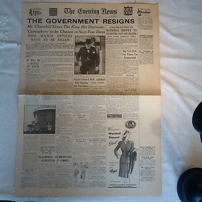 Genuine War Time Newspaper The Evening News 23 May 1945