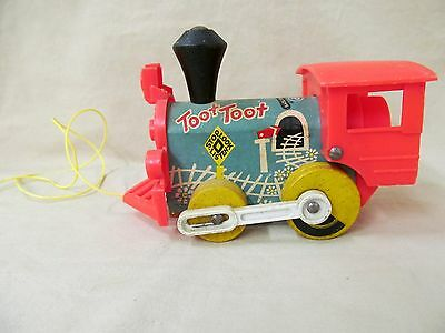 Vintage 1963 Fisher Price 641 Toot Toot Pull Train Light Blue and Orange