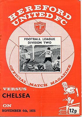 HEREFORD v Chelsea 1976/7 - unusual 2nd Division programme