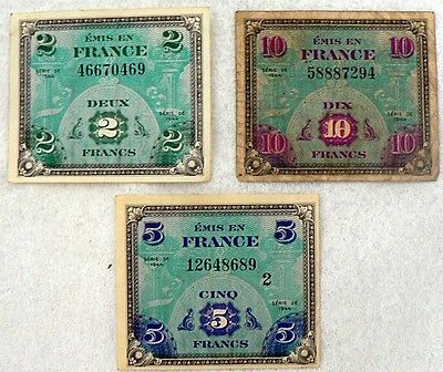 Lot Of 3 French Frances 2 - 5 - And 10 Frances From 1944