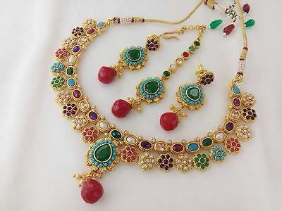 Indian Fashion Jewelry traditional necklace set bollywood ethnic gold plated set