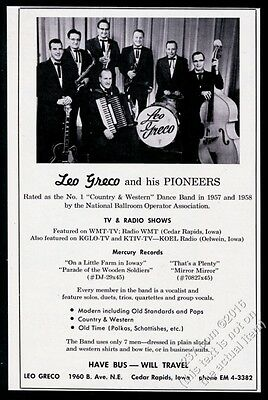 1959 Leo Greco and His Pioneers photo vintage gig booking ad