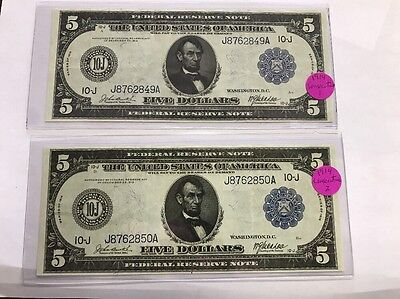 2 Consecutive Fr 880 1914 $5 Five Dollars Large Size Federal Reserve Note Ef-Au