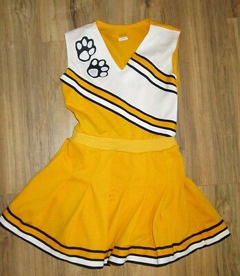 Vintage Cheerleader Uniform Outfit Costume Black Gold One Piece Dress Paw Print