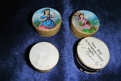 4 Tiny Old Pill Boxes For Dolls House