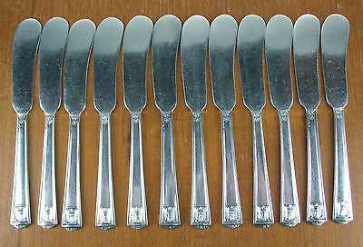 "13 x Flat Butter Knives 5 5/8"" Holmes & Edwards Century 1923 vintage silverplate"