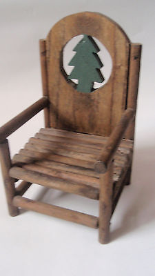Rustic style wooden doll chair -  green pine tree on back