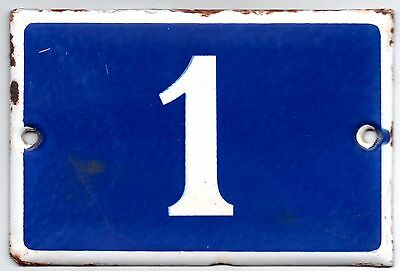 Old blue French house number 1 door gate plate plaque enamel steel metal sign