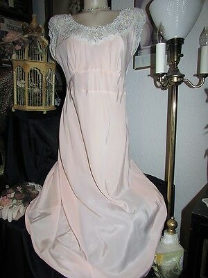 """RARE 42"""" Bust vtg 40s PINK Satin Lady Edso Rayon Satin Antique Pin Up Nightgown"""