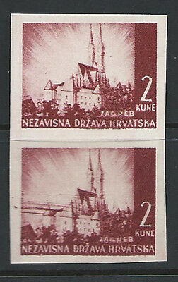 Croatia 1941 landscape 2kn imperf proof pair on thick white paper 9.S1