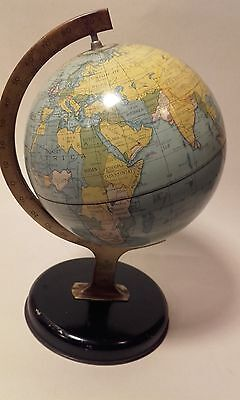 Small Vintage GLOBE / WORLD CHAD VALLEY TIN PLATE TOY / CRAWFORDS BISCUIT