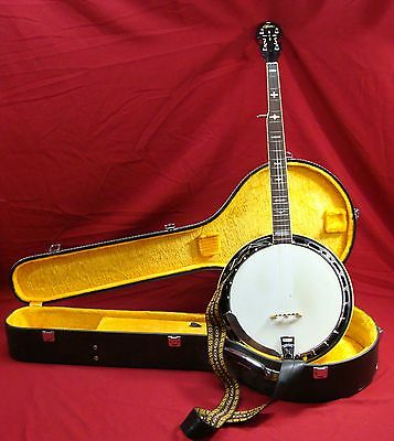 Vintage Aria 5 String Banjo Guitar W/hard Lined Case Musical Instrument Country