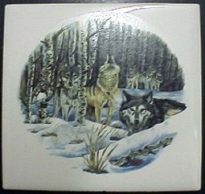 Ceramic Tile With Wolf Pack #5 Wildlife